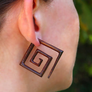 Fake Gauge Earrings Large Square Spirals by PrimalOriginals