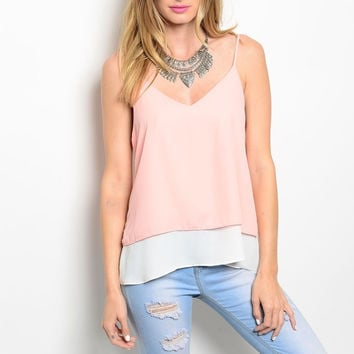 V Neckline Double Layered Chiffon Top in Peach & White