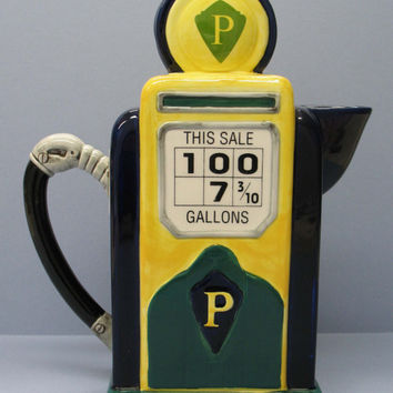 Vintage TEA POT -  Fitz and Floyd GAS Pump Pitcher Collectible