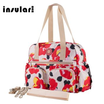 Tulip Print Multifunctional Large-Capacity Diaper Bag
