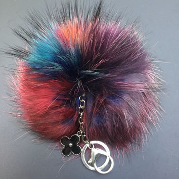 NEW Collection Dimensional Swirl™ Multi Color Raccoon Fur Pom Pom bag charm clover flower charm keychain piece no.290