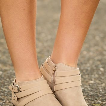 Movin' On Taupe Ankle Boots