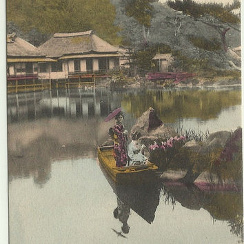 Antique Postcard Park of Hakone Japan Handcolored - Very Early 1900s