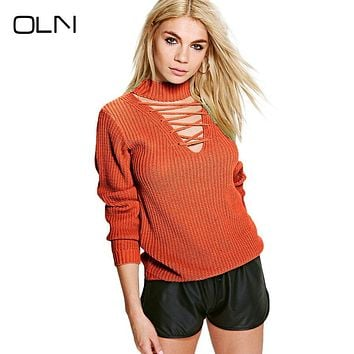 Women Pullovers Turtleneck Knit Shirt Long Sleeve Knitting Christmas Orange Sweater Female Sweter Knitwear Women Tops 60F157