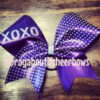 XOXO  rhinestones cheer bow