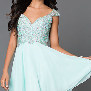 Short Sleeveless Dress 9160 with Jewel and Bead Embellished Bodice