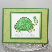 Shamrock Turtle Hand Made Happy St. Patrick's Day Card