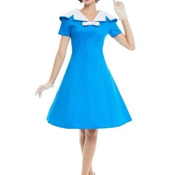 Blue Sailor Collar Knot Women's Day Dress