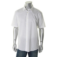 John Ashford Mens Shadow Stripe Short Sleeves Button-Down Shirt