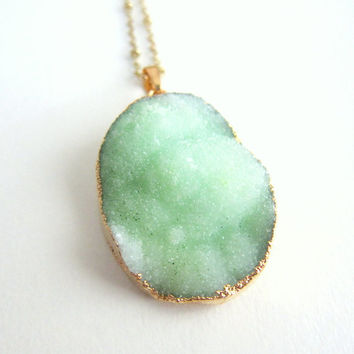 Mint Green Druzy Necklace Geode Gem Stone Gold Layered Long Drusy Mineral Pendant Rustic Statement Sparkle Shimmer Crystal Quartz Agate
