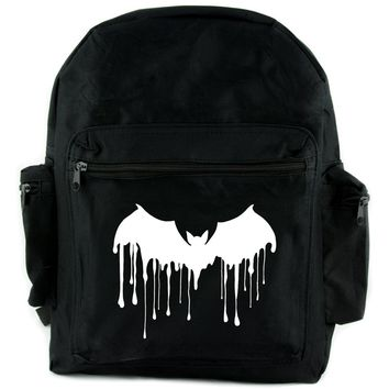 Melting Drip Vampire Bat Backpack School Bag Goth Punk