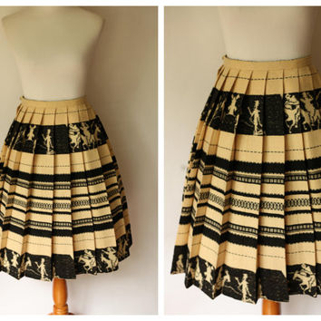 1950's Skirt | Beige Novelty Skirt/ Black Novelty Skirt / 50s Wool Skirt | Novelty Skirt | Vintage novelty Skirt | 1950s Small novelty skirt