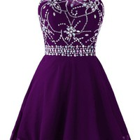 Women's Short Beaded Prom Dress Halter Homecoming Dress Backless