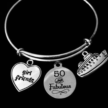Girl Friends 50 and Fabulous Cruise Ship Silver Expandable Charm Bracelet Adjustable Bangle