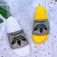 ADIDAS Fashion Women Slippers Full Color Diamond Shining Slippers B-XHYMX White