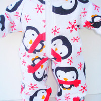 15 inch Bitty Baby Doll Clothes White Black RED Penguin Flannel Pajamas Pjs Sleeper