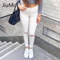 Summer Style White Hole Skinny Ripped Jeans Women Jeggings Cool Denim High Waist Pants Capris Female Skinny Black Casual Jean