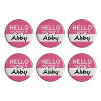 Abby Hello My Name Is Plastic Resin Button Set of 6