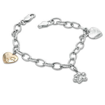 ASPCA® Tender Voices™ Diamond Accent Animal Charm Bracelet in Sterling Silver and 10K Gold Plate - View All Bracelets - Zales