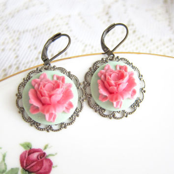 Pink Flower Earrings Mint Green and Pink Spring Garden French Romance Colorful Pastel Colors