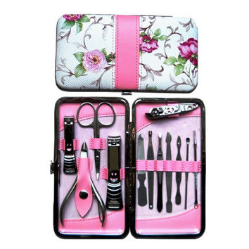 Beautiful 12pcs Stainless Steel Manicure Pedicure Set with Beautiful Rose Leather Case New Improved Surgical Strength Tools