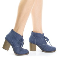Ripley Blue Jean Denim Chunky High Block Heel Booties, Lace Up Round Toe Fashion Ankle boots