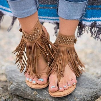 Women's Bohemian Flat Suede Fringed Sandals 3 Colors