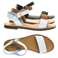 Dotty1 by Bonnibel Open Toe Flat Sandal w Adjustable Ankle Strap