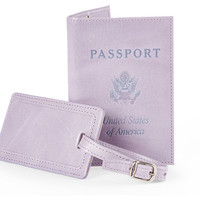 Leather Passport/Luggage Tag, Lilac, Passport Cases