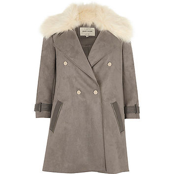 Grey faux fur trim coat