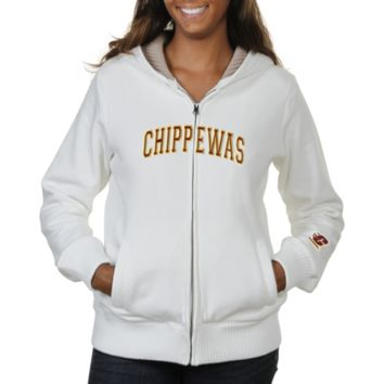 Central Michigan Chippewas Ladies Huddle Full Zip Sherpa-Lined Hooded Jacket - White