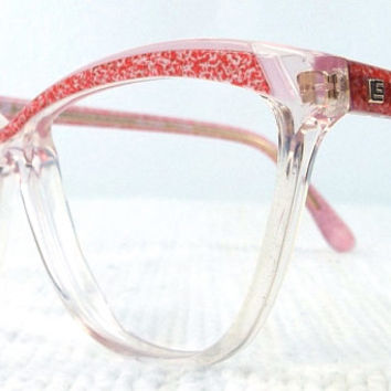 vintage 70s cat eye eyeglasses guy laroche acetate oversize browline frames glasses eyewear crystal clear red pink pearl women designer 201
