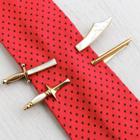 Vintage Men's Sword Tie Bar Clip Set - Pair of 2 Gold Tone Mother of Pearl Swank Costume Jewelry Fashion Accessory / Scimitar & Sabre