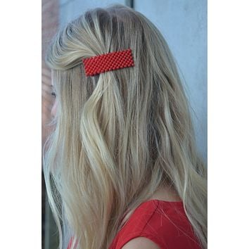Keep Popping Rectangular Hair Clip in Red