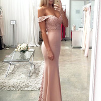 Lace Satin Off Shouler Sheath Prom Dresses