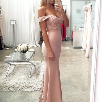 Pink Lace Sheath Mermaid Satin Prom Dresses