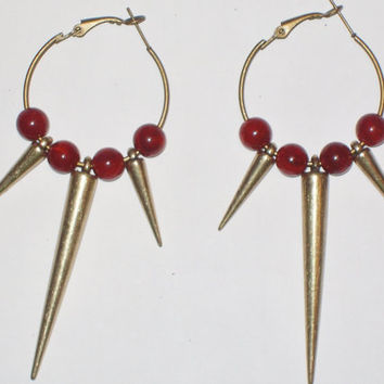 Red Spike Earrings by StrictlyCute on Etsy