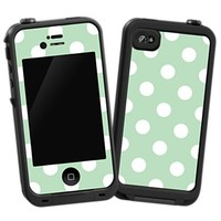 White Polka Dot on Spring Green Skin  for the iPhone 4/4S Lifeproof Case by skinzy.com