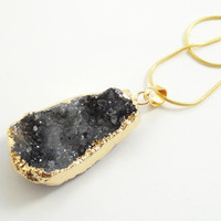 Charcoal  Grey Gold Dipped Druzy Agate Pendant , Drussy Druzzy Grey Pendant, Select With Or Without Chain