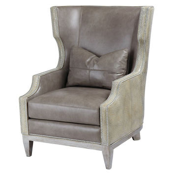 Stella Leather Wingback Chair, Gray, Wingbacks