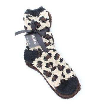Leopard/Solid Fuzzy Crew Two Pair Pack