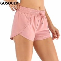 Women Summer Training Shorts Sport Yoga Running Short Workout Breathable Shorts with Lining Sport Fitness Shorts