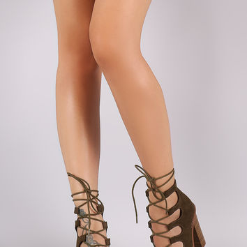 Liliana Caged Lace-Up Chunky Heel Booties