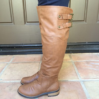 Cognac Relax-01X Double Strap Boots