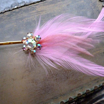 Pink Rhinestone Hair Pin - Vintage Aurora Borealis Feather Fascinator
