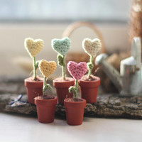 Five miniature flowers hearts in the pots, Valentine Decoration,  gift for her, Tiny hearts, crochet art, yellow, mint, pink, pastel