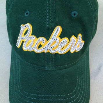 Bling hat, Packers, green bay, green bay packers, baseball hat, custom hat, cheesehead, bling hats, team hat, customize colors, ladies hat