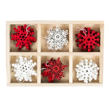 Set of 24 Laser Cut Festive Snowflake Hanging Decorations