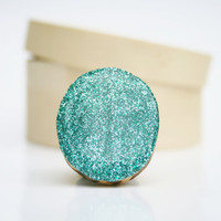 Aqua glitter ring statement ring chunky ring cocktail ring best friend gift eco friendly eco fashion starlightwoods