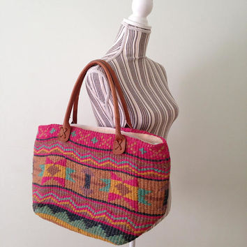 Aztec Print Bag, Oversized Basket, Woven Beach Bag, Leather Handles, Multicolor Bag, Boho Chic Tote, Large Beach Bag, Navajo Sisal Purse